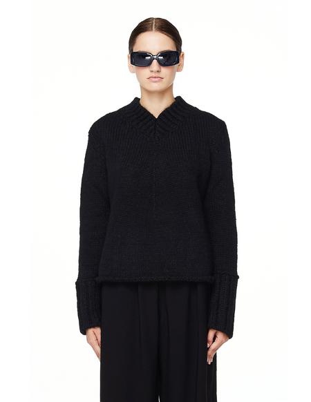 Maison Flaneur Chunky Knit Sweater - Black