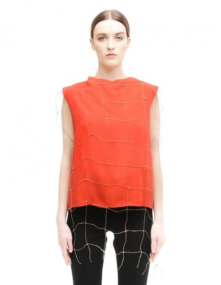 Damir Doma Red Fishnet Top - Orange