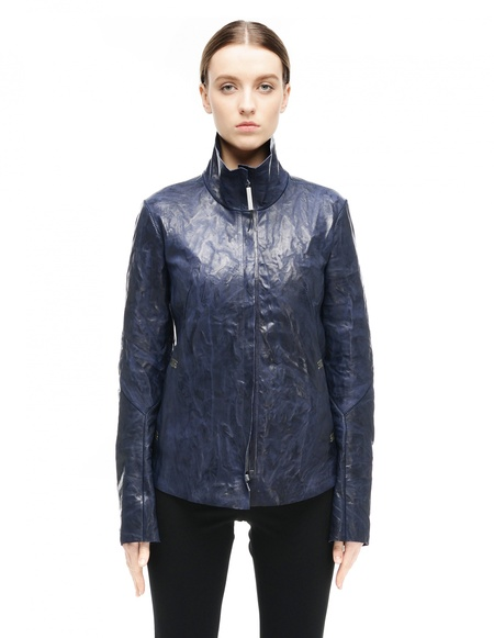 Isaac Sellam Leather Jacket - Navy Blue