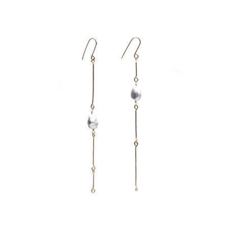 Mary MacGill 14K Bone Chain Earrings with Keshi Pearls