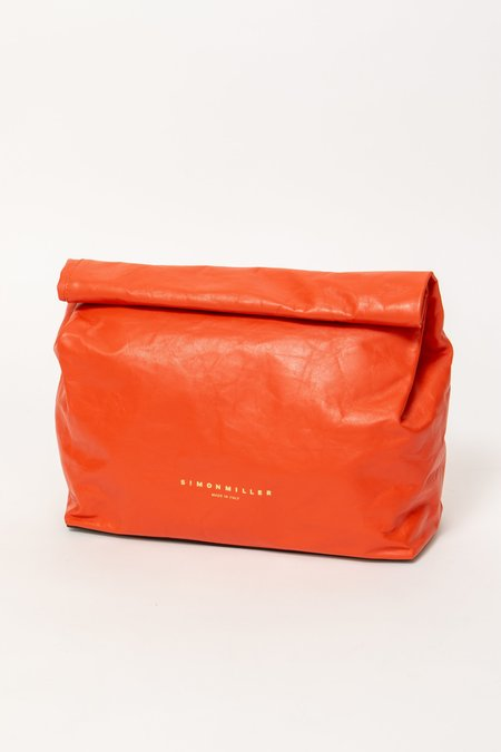 Simon Miller XL Leather Lunch Bag Clutch - RED