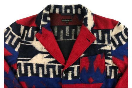 Engineered Garments Knit Jacket - Red/Royal Navajo