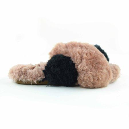 Ariana Bohling Criss Cross Alpaca Slipper - Blush/Black