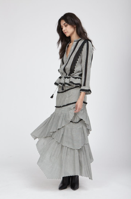 Love Sam Hailey Stripe Long Sleeve Top - Black/Ivory