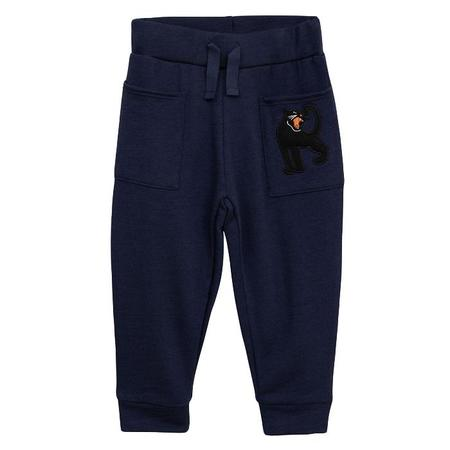 KIDS Mini Rodini Baby And Child Wool Terry Sweatpants - Navy With Panther Print