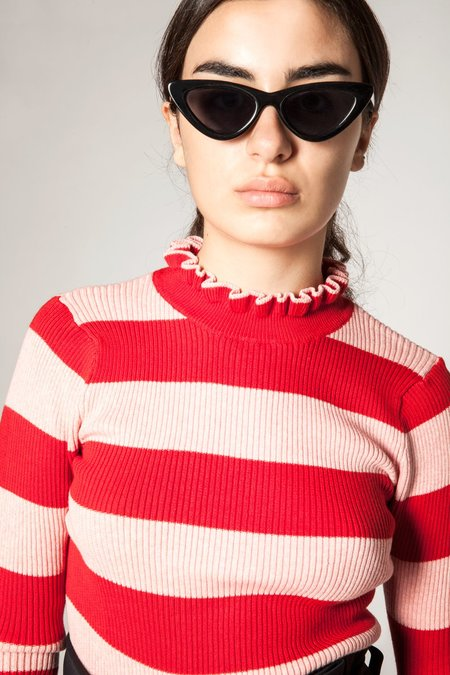 Maison Scotch Frilled Turtleneck Pullover - Red/Pink Stripe