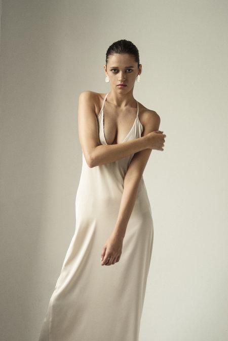 K M by L A N G E OPEN BACK ASYMMETRIC SLIP DRESS - CREAM
