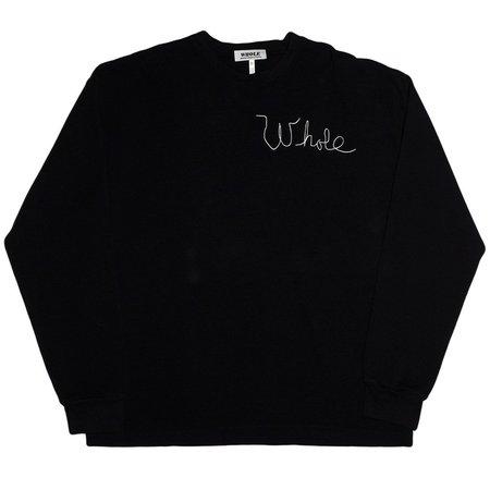 Unisex Skim Milk Whole Thermal Long Sleeve Top - Black