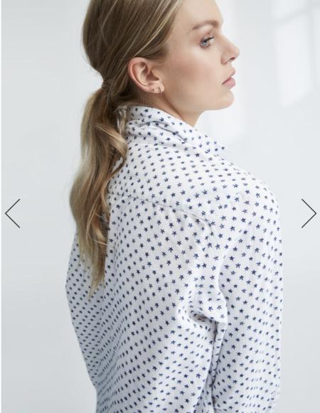 Frank & Eileen Eileen Italian Flannel Shirt - White Navy Stars