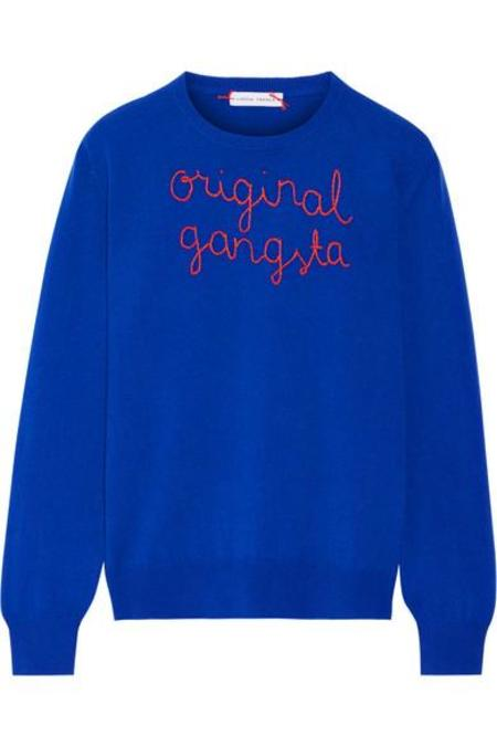 Lingua Franca Original Gangster Embroidered Sweater
