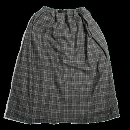 Gramicci Wool Blend Long Flare Skirt - Glen Check