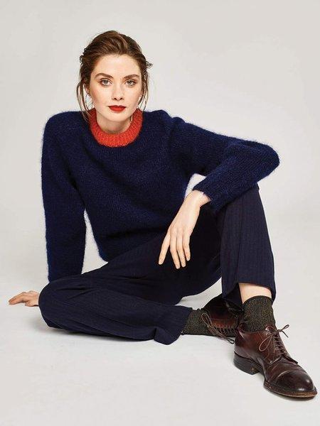 Bellerose Ghajar Contrast Trim Knit - Navy/Brick