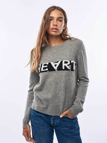 Jumper 1234 Heart Sweater - Mid Grey