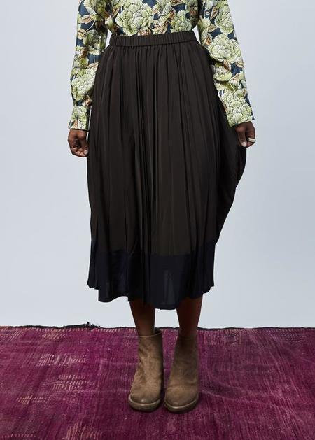 Yoshi Kondo Quota Ruffle Skirt - Brown/Navy
