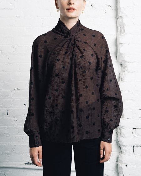 Creatures of Comfort Coy Top -  Brown Dot