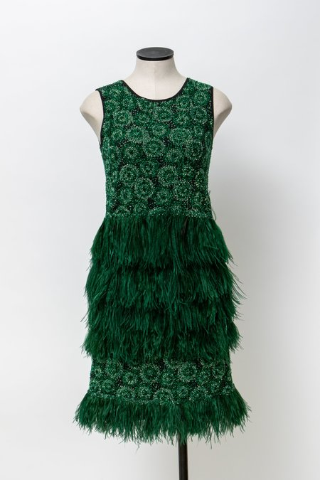 Odeeh Feather Sequin Dress - Russian Green