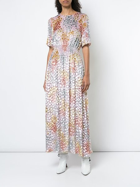 Adam Lippes Painted Jacquard SS Long Dress - Pastel Multi
