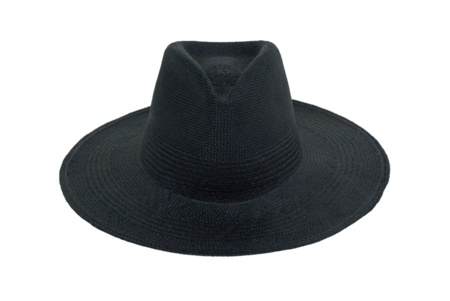 Clyde Wide Brim Pinch Panama Hat - Black