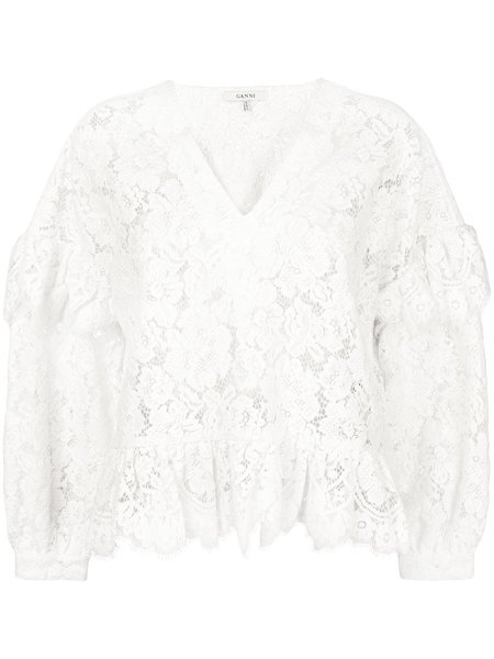 Ganni Jerome Lace Top - Egret