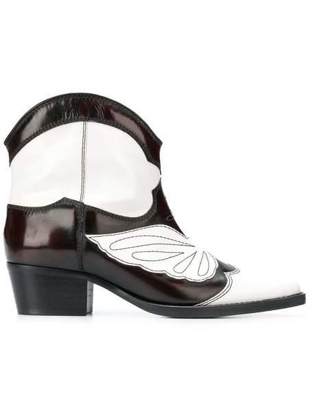 Ganni Meg Ankle Boot - Black/White/Burgundy