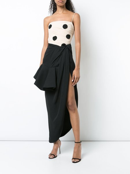 Jacquemus Polka Dot Embroidered Crepe Top - Beige/Black