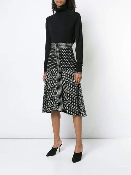 Proenza Schouler Viscose Crepe Flared Skirt - Black Floral Multi