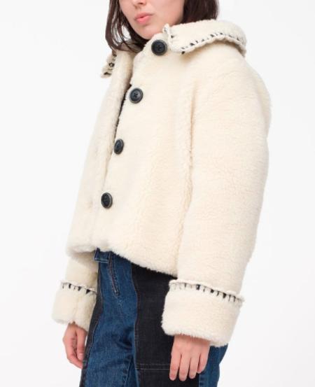 Sea Madeline Boxy Fur Coat - Cream