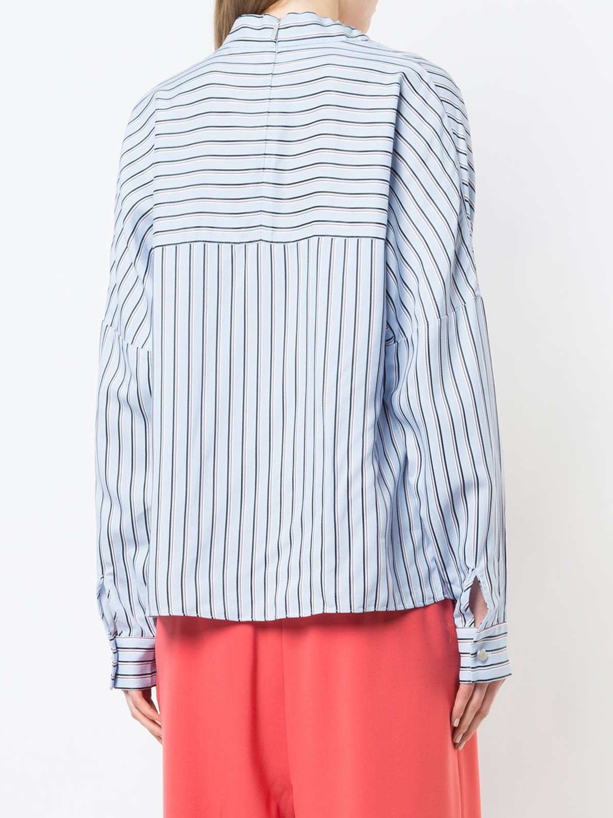 tibi viscose stripe shirting buckle doman top blue multi garmentory