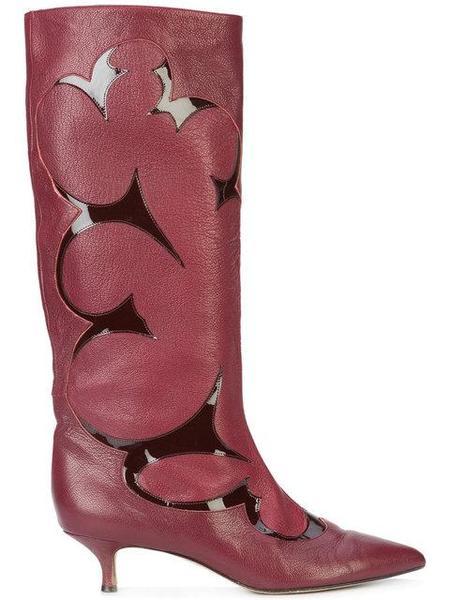 Tibi Jagger Lux Grain Patent Boots - Bordeaux