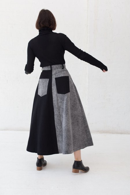 69 Cow Person Skirt - Black/Acid Wash