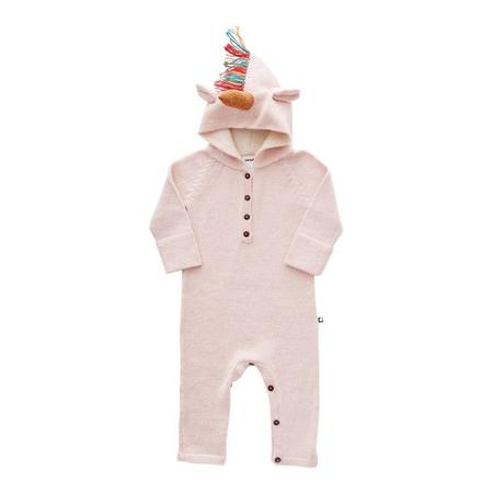 KIDS Oeuf NY Baby Jumpsuit With Hood Unicorn - Pink