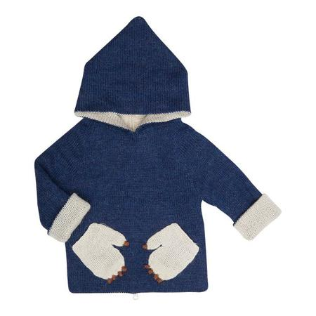 KIDS Oeuf NY Reversible Sweater With Hood - Indigo Monster Navy