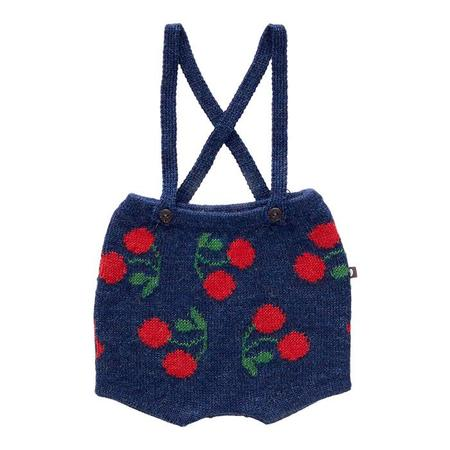 KIDS Oeuf NY Shorts With Suspenders - Indigo Blue With Cherries
