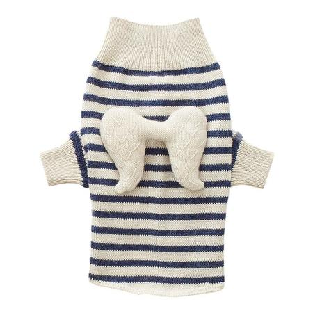 Oeuf NY Dog Sweater With Angel Wings - White With Indigo Dots