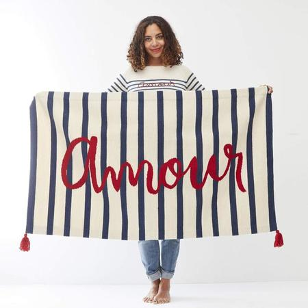 Oeuf NY 3' x 5' Rug Amour - White With Indigo Blue Stripes
