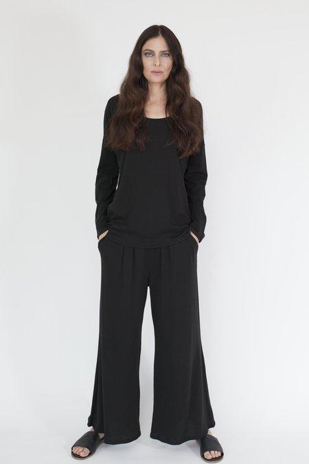Arzé 100% Organic Pima Cotton Wide Leg Pant - Black