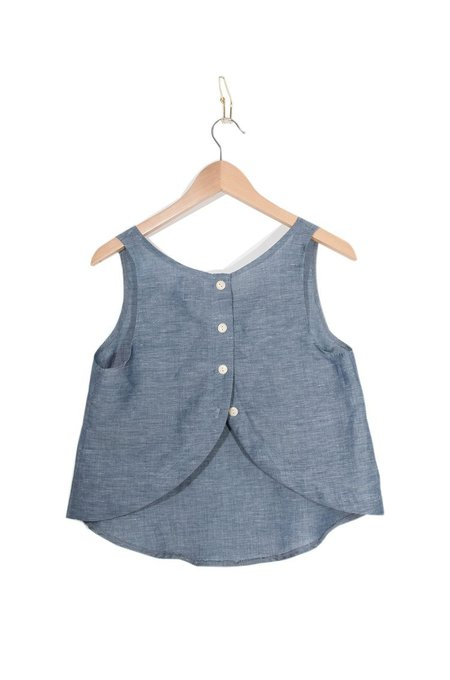 Coast Button Back Tank - Navy