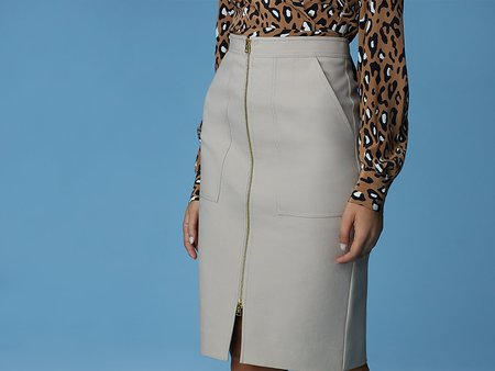 DVF Patch Pocket Zip Skirt - Sand