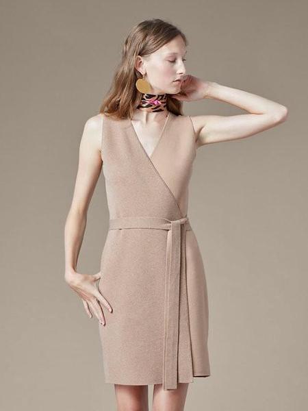 DVF SLVLS Knit Midi Wrap Dress - Camel Melange