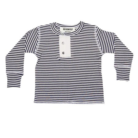 Kids Go Gently Nation Wide Placket Henley - Navy/Natural Stripe