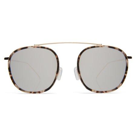 Illesteva Mykonos Ace Flat Lens - White Tortoise/Gold