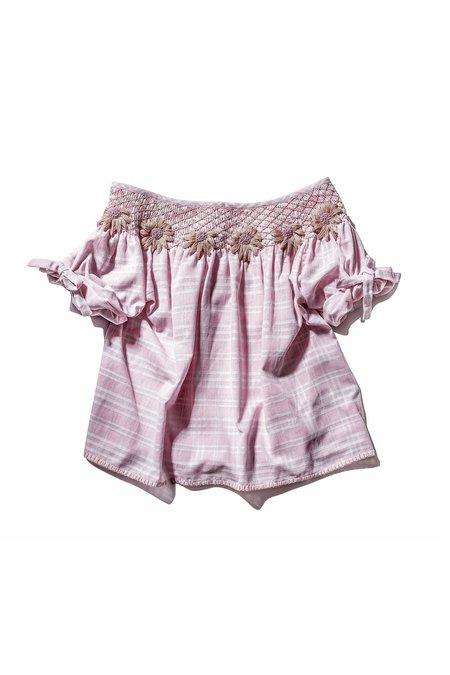 Innika Choo Smock Top - White/Pink