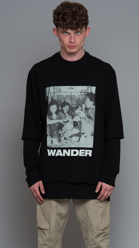 Song for the Mute Wander Van Double Layered Pullover - Black