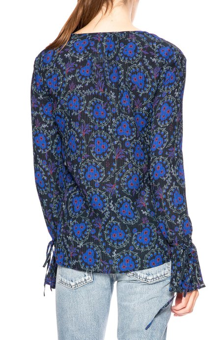 Derek Lam 10 Crosby Bell Cuff Blouse - Black Print