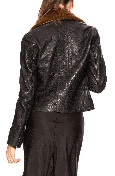 Lot78 Lily Leather Biker Jacket - Black