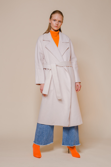 OPUSION Belted Wool Coat - White