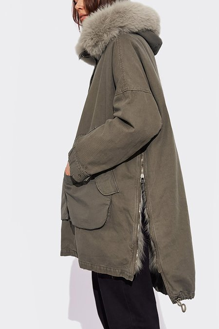 Yves Salomon Asymmetric Oversized Parka with Fox Fur - Khaki