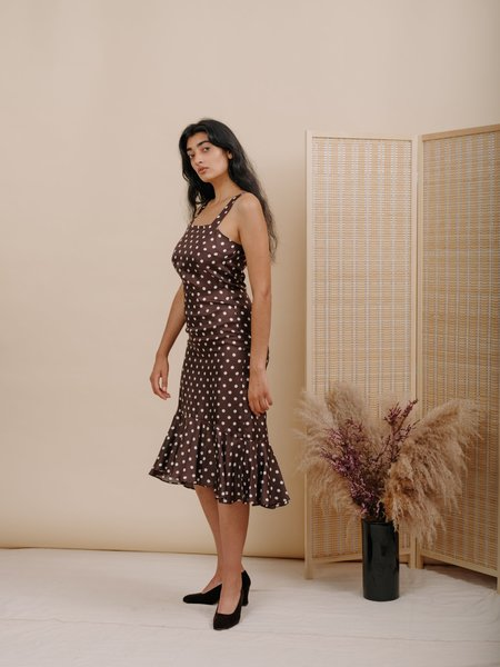 Wolcott : Takemoto Flo Silk Dress - Brown Polka Dot