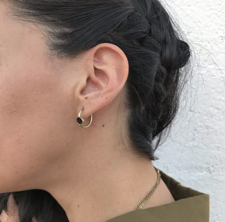 Ale Bremer Inlay Leather Small Hoop Earrings - Brass