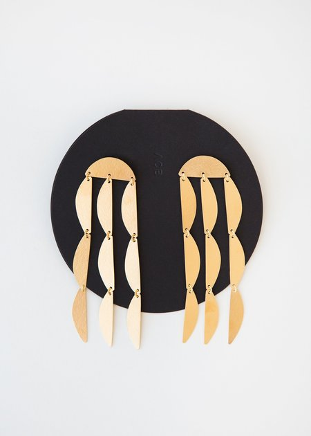 Annie Costello Brown Mini Rain Earring - Gold